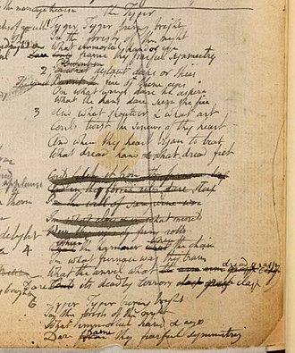 Notebook of William Blake - Image: Blake manuscript Notebook 25 Tyger 1st draft