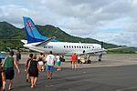 Boarding Air Rarotonga Saab 340 at Rarotonga Airport.jpg