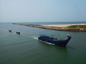 Kadinamkulam - A  Fishing trawler in Kadinamkulam lake