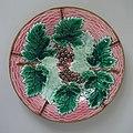 Boch Freres Kermis Plate, coloured glazes, c. 1880, grapes and vine leaves pattern.jpg