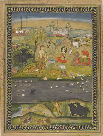 Layla and Majnun - Layla visits Majnun in the wilderness; Indian watercolour held by the Bodleian Library