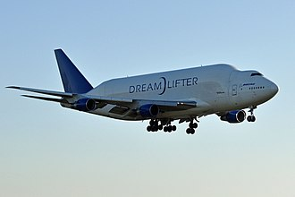 The Boeing Dreamlifter, a modified 747-400, first flew on September 9, 2006 Boeing, N780BA, B747-409(LCF) Dreamlifter - PAE (19833251496).jpg