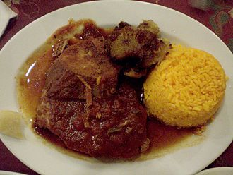 Pot roast - Boliche with rice and plantains