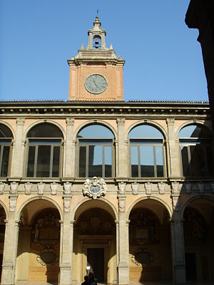 Archiginnasio of Bologna - The palace seen from the inner courtyard