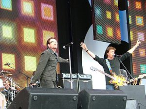 Live 8 concert, London - Bono and Paul McCartney