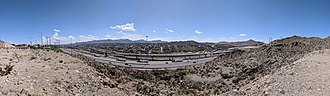 Texas State Highway Loop 375 - Panoramic view from Sun Bowl Drive at the University of Texas at El Paso, towards Juárez, Chihuahua, Mexico in August 2018, the location of the future Border West Expressway