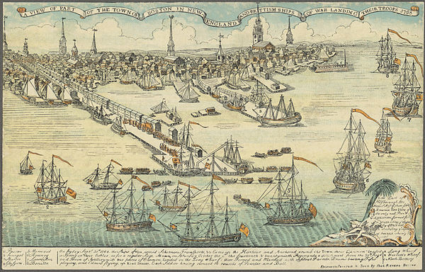 Paul Revere's engraving of British troops landing in Boston in response to events set off by the Circular Letter.