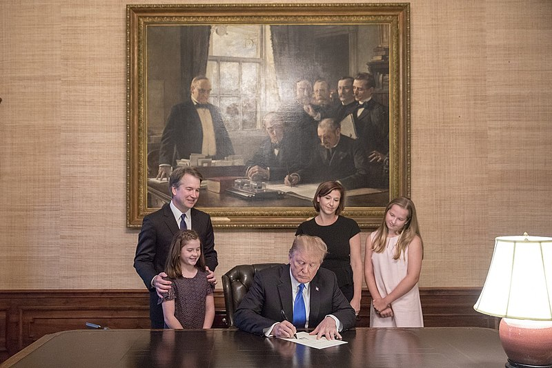 File:Brett Kavanaugh watches with his family as President Donald Trump signs his nomination.jpg