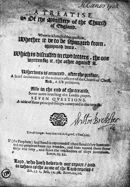 Title page of a pamphlet published by William Brewster in Leiden Brewster COE Treatise.png