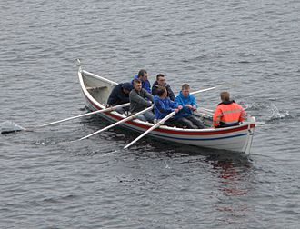 Sumba, Faroe Islands - Broddur, a rowing boat from Sumba, which participated in the summer rowing races earlier.