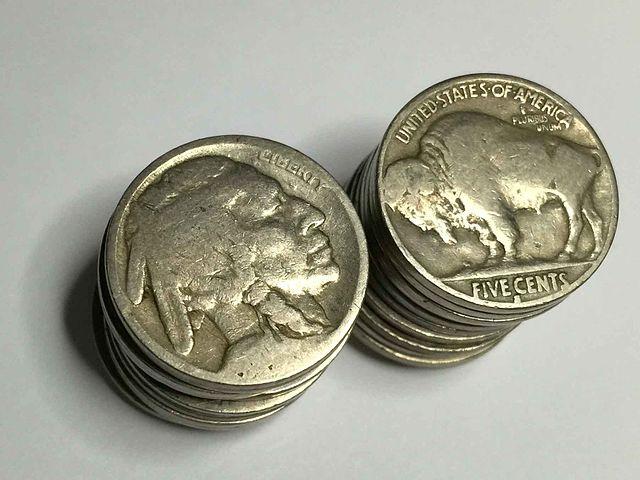 circulated Buffalo nickels