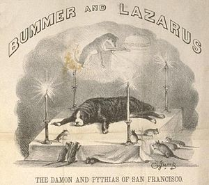 Bummer and Lazarus - Bummer lies in state. This cartoon of Jump's was accompanied by a long satirical eulogy.