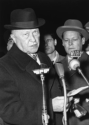 Homburg (hat) - Konrad Adenauer and Willy Brandt (1961), both wearing Homburgs.