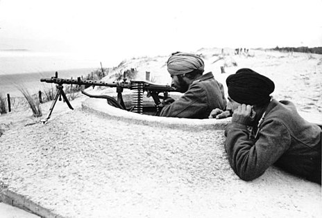 Sikh soldiers of the Indian Legion guarding the Atlantic Wall in France in March 1944. Subhas Chandra Bose initiated the legion's formation, intended to serve as a liberation force from the British occupation of India.
