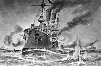 Gazelle-class cruiser - Ariadne at Heligoland Bight, 1914.
