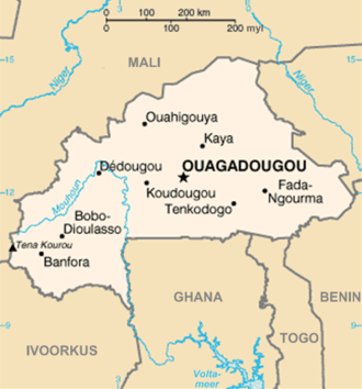 Thomas Sankara - A map showing the major cities of Burkina Faso