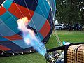 Burner being used to fill a balloon at the Canberra Balloon Spectacular March 2017.jpg