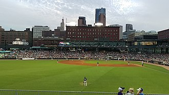Downtown Saint Paul - A view of CHS Field and the St. Paul skyline from left field