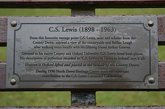 C. S. Lewis - Plaque on a park-bench in Bangor, County Down