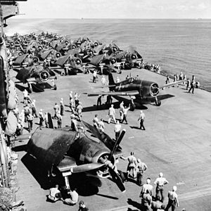 CVG-12 aircraft warm up for strike on USS Saratoga (CV-3) 1943.jpg