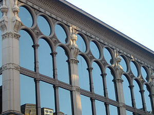 Cast-iron architecture - Close-up view of cast-iron detailing at the Ca' D'Oro Building in Glasgow, Scotland, erected in 1872