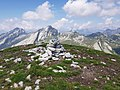 Cairn of stones on top of Pizzo Ruggia 2289m - Santa Maria Maggiore VCO, Piedmont, Italy 2020-07-29.jpg