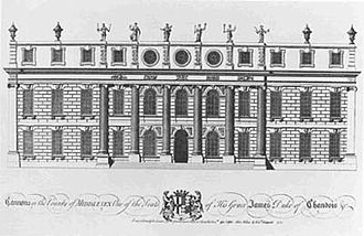 Cannons (house) - James Gibb's design for the South Front (from Vitruvius Britannicus)