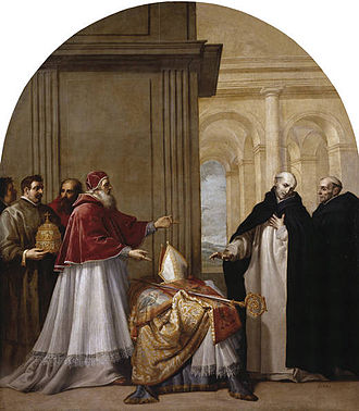 Bruno of Cologne - Saint Bruno refuses the archbishopric of Reggio di Calabria, by Vincenzo Carducci, Chartreuse of el Paular.