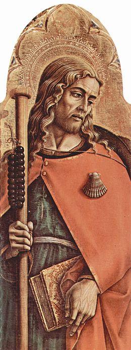 A pilgrim with a scallop shell emblem