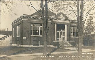 Sturgis, Michigan - Construction of the Carnegie Library in Sturgis began in 1908 with a dedication on April 2, 1909.
