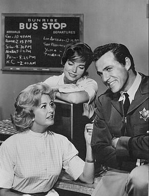 Rhodes Reason - Rhodes Reason as the sheriff with Marilyn Maxwell and Joan Freeman in Bus Stop