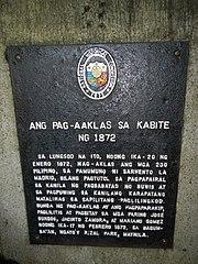 Cavite Mutiny of 1872 historical marker in Cavite City.jpg