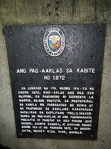 Cavite Mutiny de 1872 historia signo en Cavite City.jpg