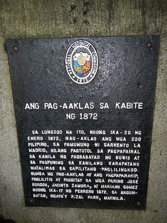 "1872 Cavite mutiny - ""Ang Pag-aaklas sa Kabite ng 1872"" historical marker for the Cavite mutiny at Fort San Felipe in Cavite City, 1872"