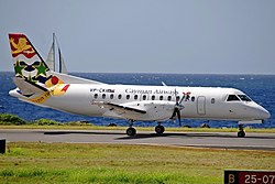 Cayman Airways Express Saab 340B (VP-CKI) at Roatan Airport.jpg