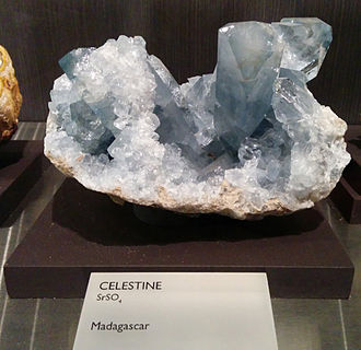 Celestine (mineral) - Celestine mineral on display at Yale's Peabody Museum