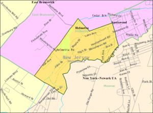 Helmetta, New Jersey - Image: Census Bureau map of Helmetta, New Jersey