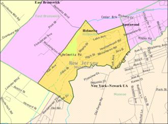 Helmetta, New Jersey - Image: Census Bureau map of Helmetta, New Jersey