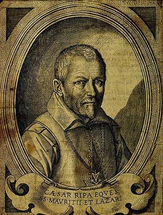 """Cesare Ripa - Portrait of Cesare Ripa in """"Della novissima iconologia di Cesare Ripa perugino"""" (1624)"""