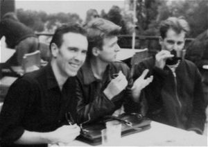 Crowded House - The band at the Montreux Pop Festival, May 1988. L to R: Seymour, Finn, Hester.