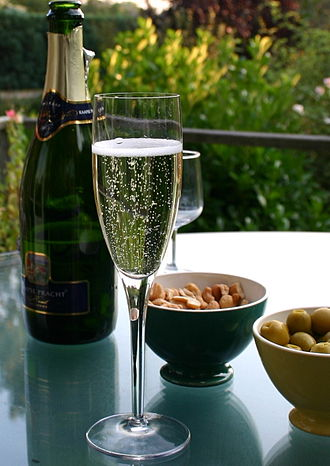 Champagne glass - Champagne flute and bottle
