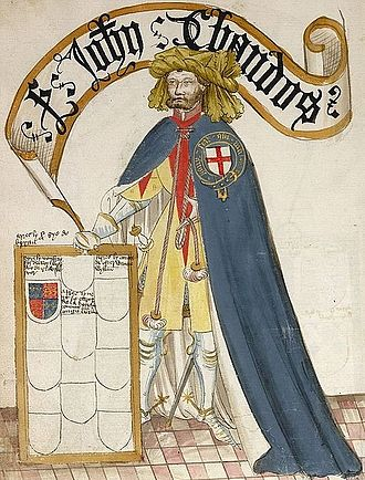 John Chandos - Sir John Chandos from the Bruges Garter Book (1430/1440, BL Stowe 59).