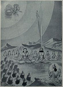 Chanting Brahmins and King Ikshwaku proceed to heaven.jpg