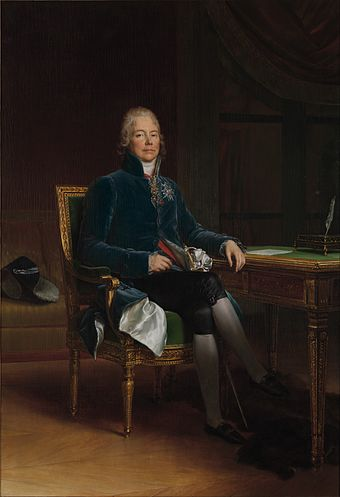 Charles Maurice de Talleyrand (portrait by Francois Gerard) insisted Gerry remain in Paris, even after negotiations had failed. Charles Maurice de Talleyrand-Perigord by Francois Gerard, 1808.jpg