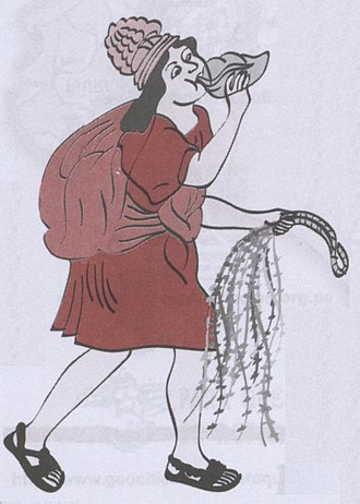 Chasqui - Chasqui playing a pututu (conch shell) and carrying a quipu