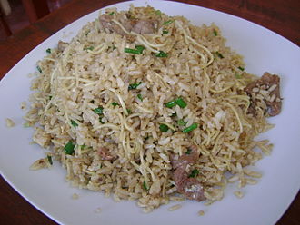 Chifa - Arroz chaufa; the variety pictured includes beef and bean sprouts