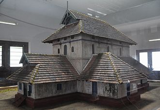 Mappila - A model of the old structure of the Kodungallur Mosque. According to the Cheraman Perumal tradition, the first Indian mosque was built at Kodungallur.