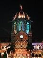 Chhatrapati shivaji terminus, esterno di notte 11.jpg