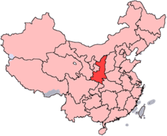 Qinqiang - Map showing location of Shaanxi province in China