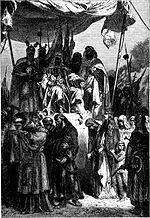 Les chrétiens de la ville sainte défilant devant Saladin